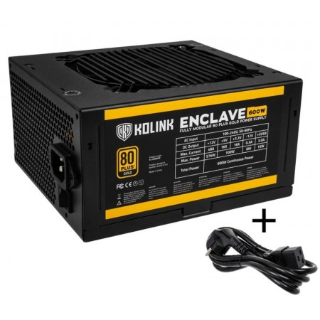 Kolink Enclave 80 PLUS Gold PSU modular 600 Watt PC Power Supply - With Cable